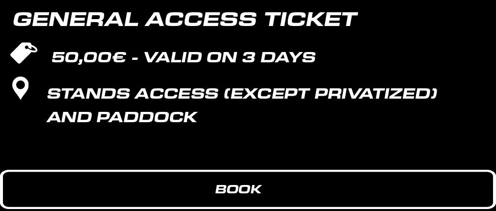 BILLET WEEK-END ENCEINTE GENERALE. 50 € valable les 3 jours. Accès tribunes (sauf privatisées) + Paddock