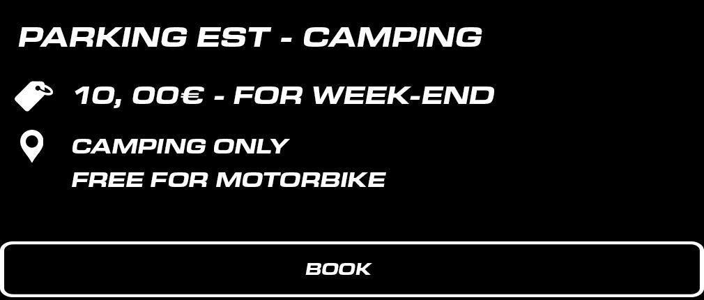 EST – Aire de campement. 10 € forfait week-end. Gratuit pour les motos.