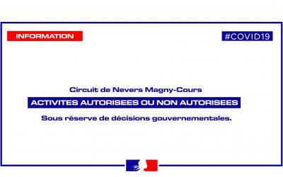 ACTIVITES AUTORISEES #COVID19 – CIRCUIT DE NEVERS MAGNY-COURS
